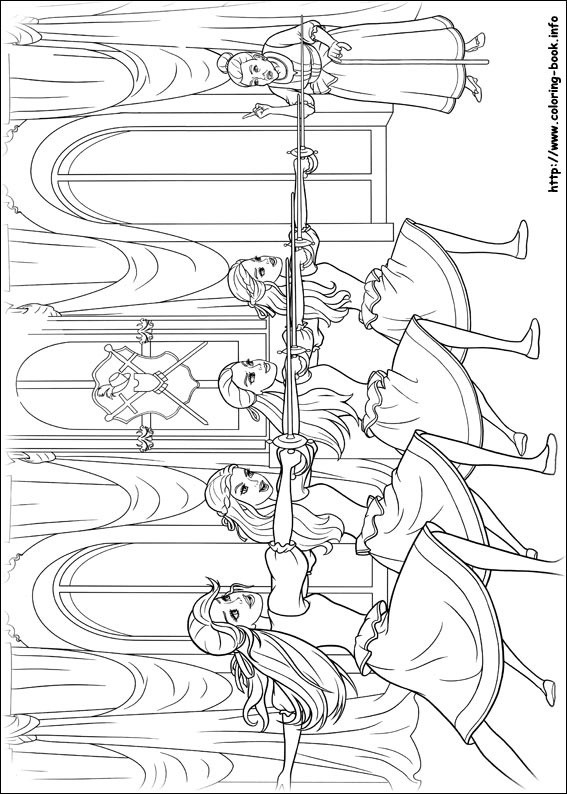 barbie and the three musketeers coloring pages on coloring book info on barbie coloring pages three musketeers