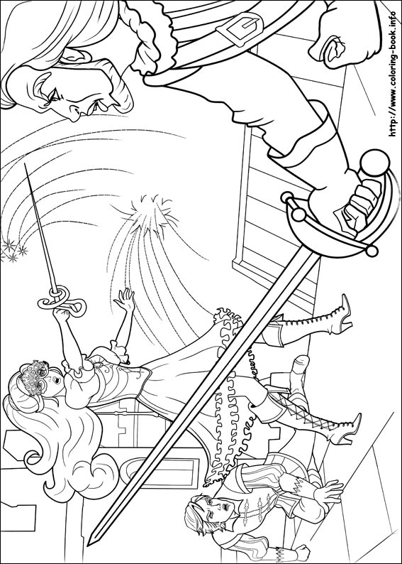 Barbie and the three Musketeers coloring picture
