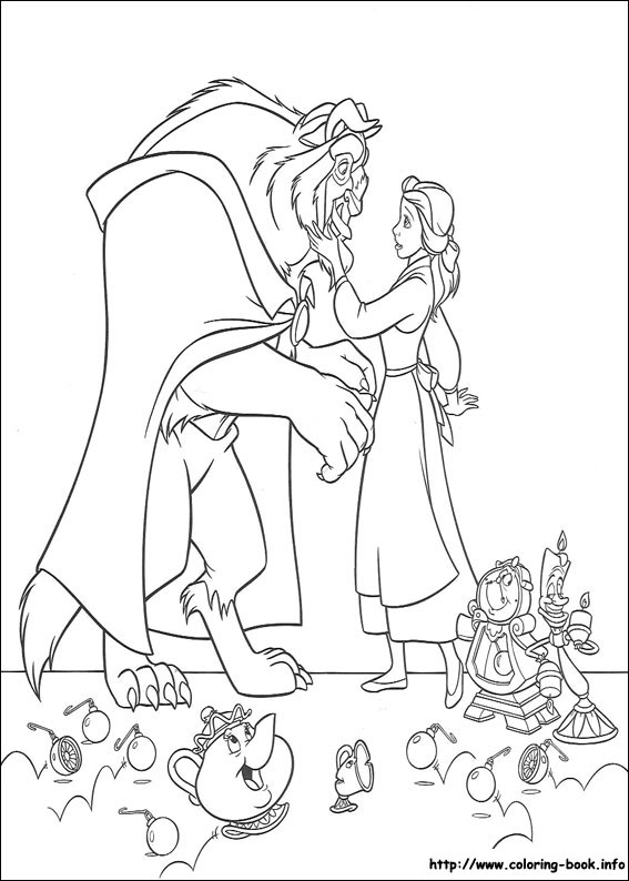 Beauty And The Beast Coloring Pages On Book