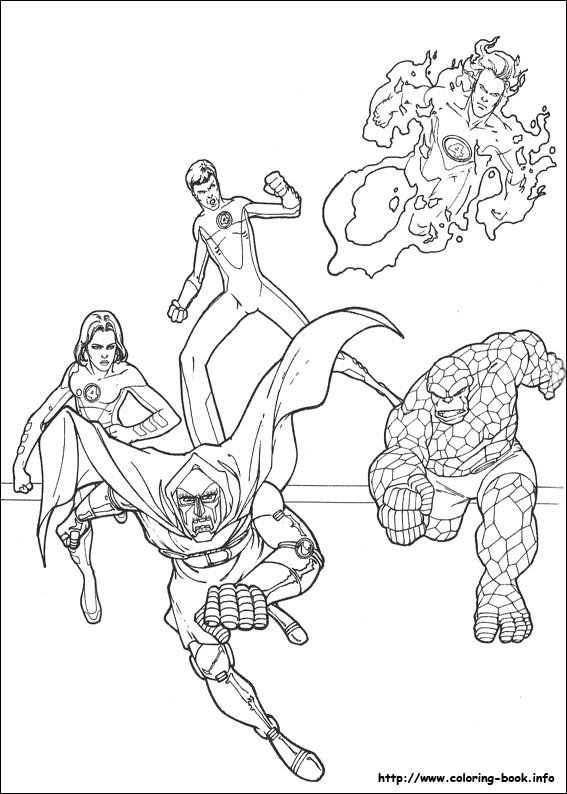 The Fantastic Four Coloring Pages Fantasticfourcl adult | 794x567