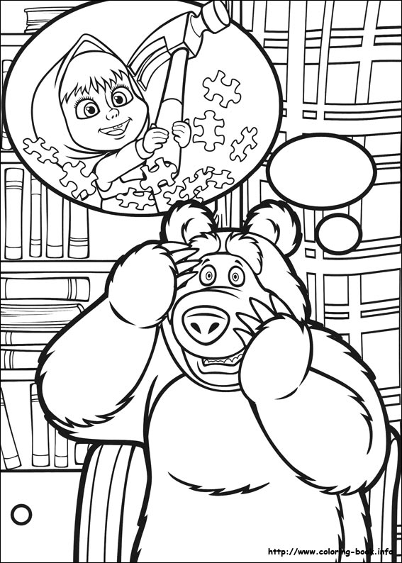 Masha And The Bear Coloring Pages On Book
