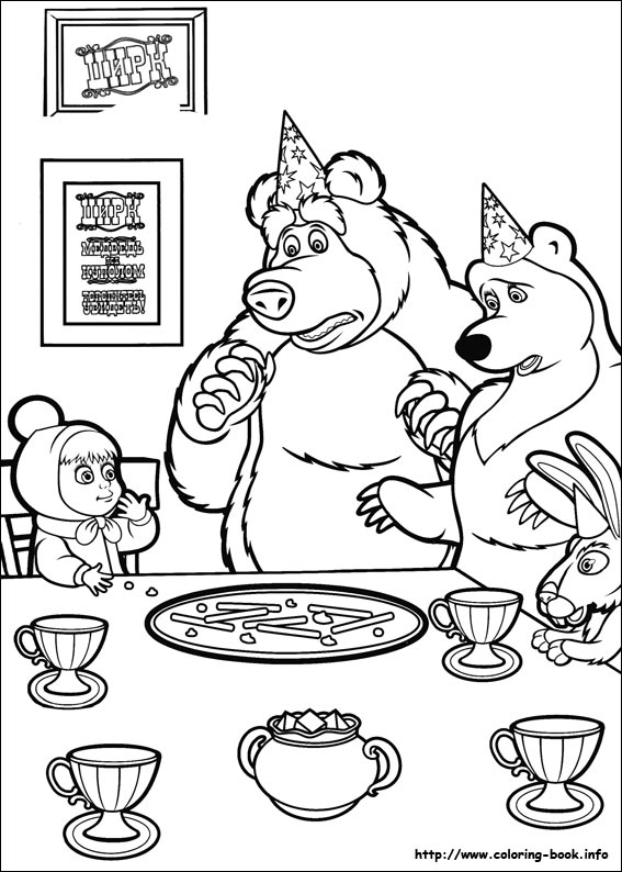 Masha And The Bear Coloring Picture