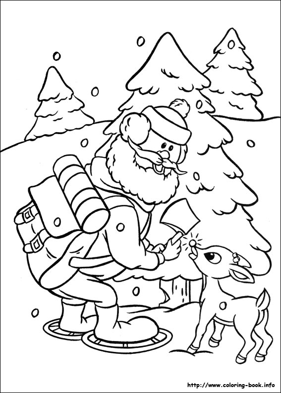 the RedNosed Reindeer coloring picture