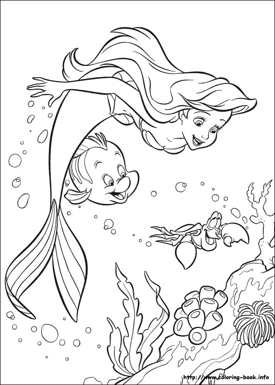 the little mermaid coloring picture - Little Mermaid Coloring Book