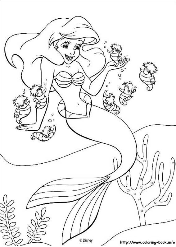 The Little Mermaid Coloring Pages On Book