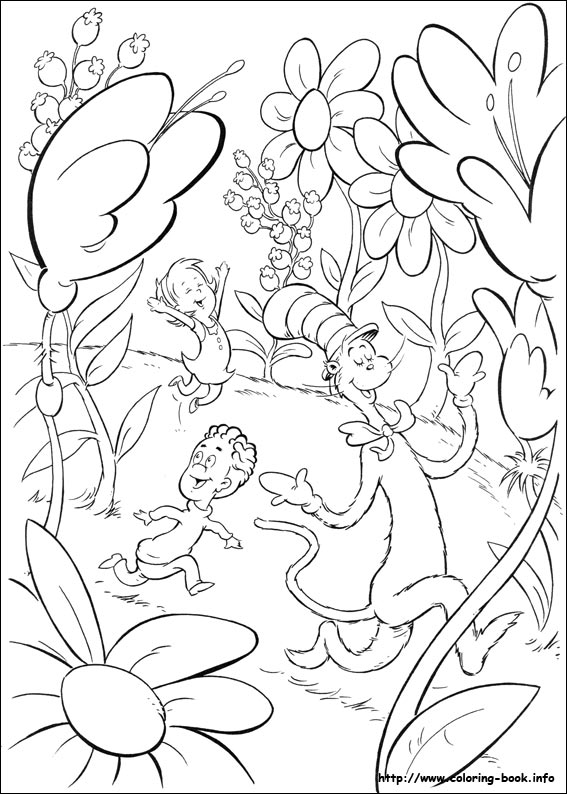the cat in the hat coloring picture - Cat Hat Coloring Pages