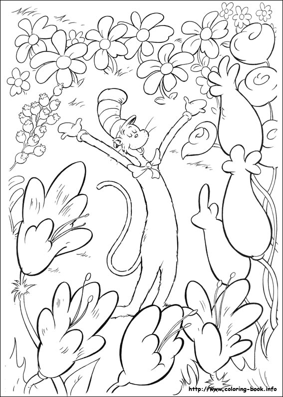 The Cat In Hat Coloring Picture