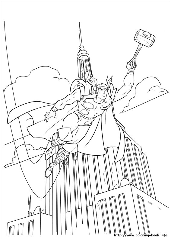 thor coloring picture - Thor Printable Coloring Pages