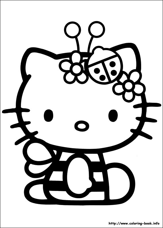 o kitty coloring pages on book info