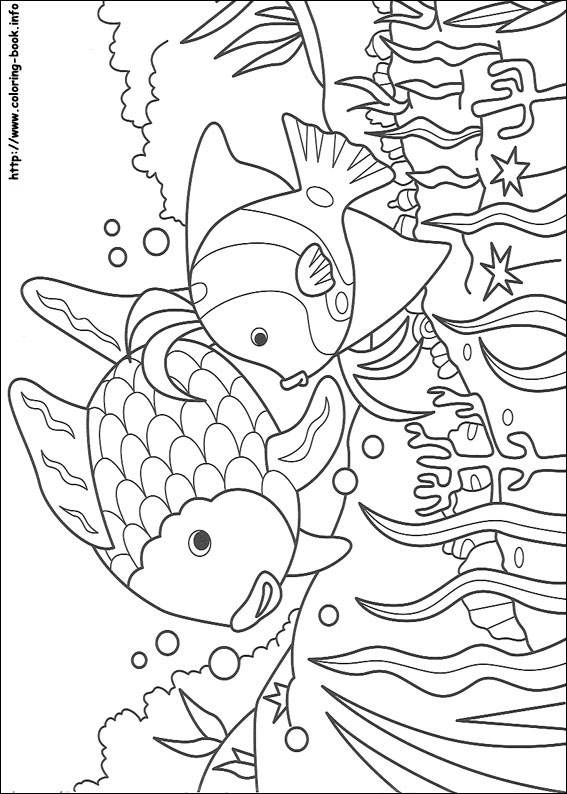 image regarding Fish Coloring Pages Printable titled Rainbow Fish coloring envision