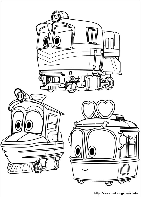 Robot Trains Coloring Picture