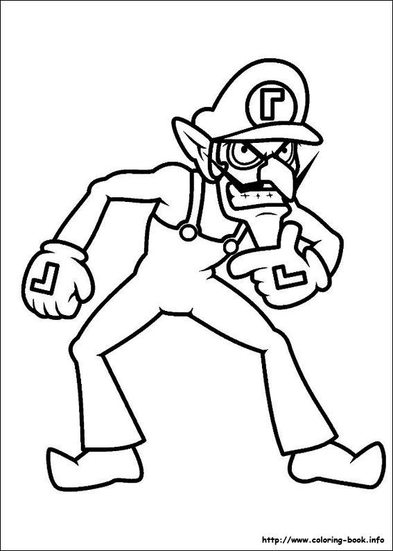 Coloriage Waluigi.Super Mario Bros Coloring Picture